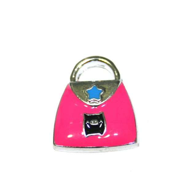 1 x 19*15mm rhodium plated pink handbag with little cute piggy enamel charm - SD03 - CHE1225